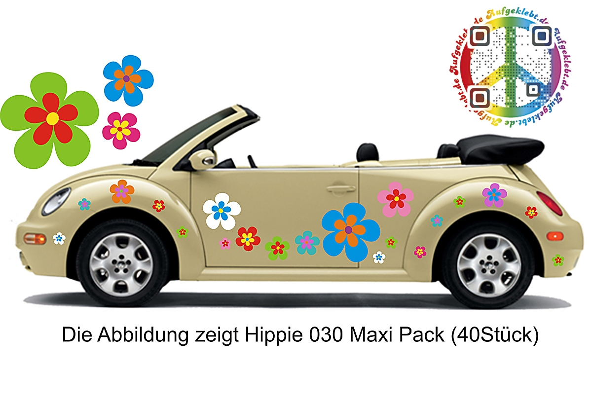 Hippie Flower Set 030 - in edler Matt Optik - XL Pack 26 Stück